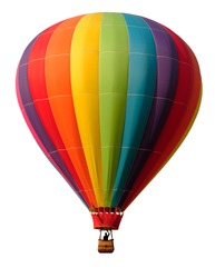 Rainbow colored hot-air balloon against white background. Pilot in silhouette.