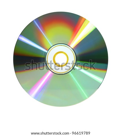 rainbow-colored or iris-like data disc dvd in bright light isolated on white background