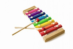 Rainbow Colored Wooden Toy 8 tone Xylophone glockenspiel isolated on white background. toy glockenspiel. Music, vibrant. Rhythm, listen