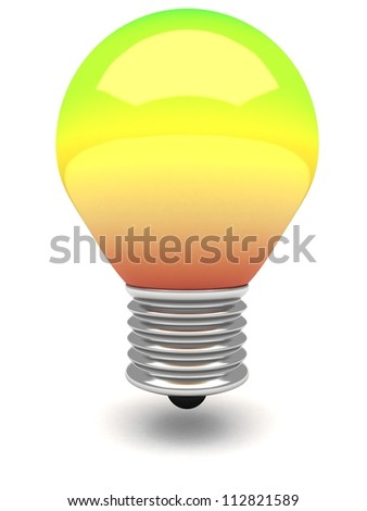rainbow colorful bulb lamp on white background