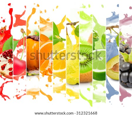 Rainbow colorful fruit stripe collection with splash on white background #312321668