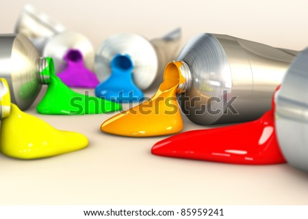 Rainbow colorful  oil colors on isolated white background