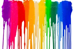 rainbow colors of paint dripping with clipping path