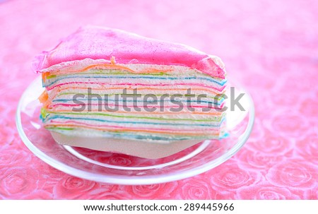 Rainbow crepe cake #289445966