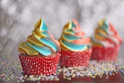 Rainbow cupcakes. Chocolate cupcakes with multicolored frosting.