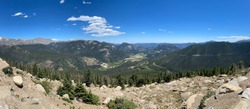 Rainbow curve overlook panoramic in Rocky Mountain National Park (RMNP) on Trail Ridge Road.