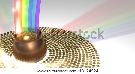 Rainbow ending in a pot of gold
