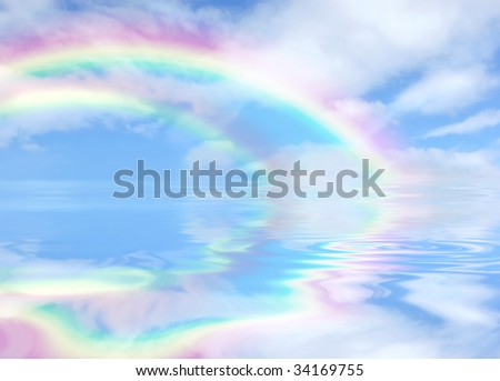 Rainbow fantasy abstract of a blue sky and clouds,  with reflection in rippled water.