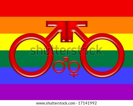 Rainbow flag and symbol for lesbian family
