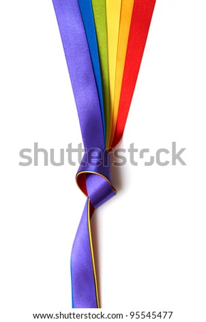 rainbow flag background made of slim stripes in knot