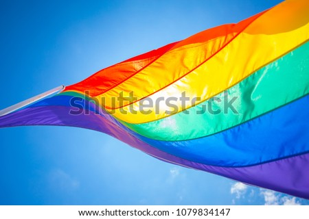 Rainbow flag on a gay beach in Miami Beach, South Beach, 12th street. Florida. USA.