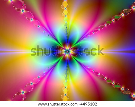 rainbow flower bright neon abstract page design illustration background