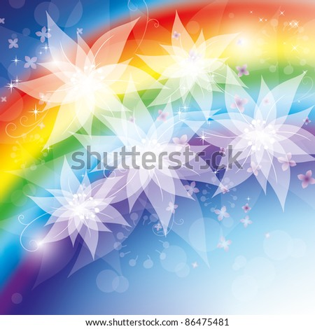 Rainbow flowers, Illustration raster - stock photo