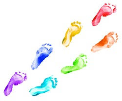 Rainbow foot prints kid set isolated on white background for art education, top view.