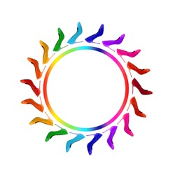 Rainbow from shoes in a circle. On a white background. Isolate. Banner.