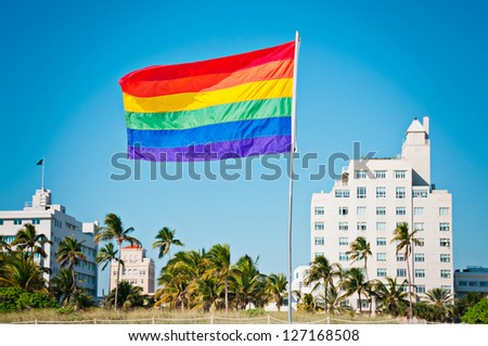 Rainbow Gay Pride Flag, Miami Beach, Florida, USA