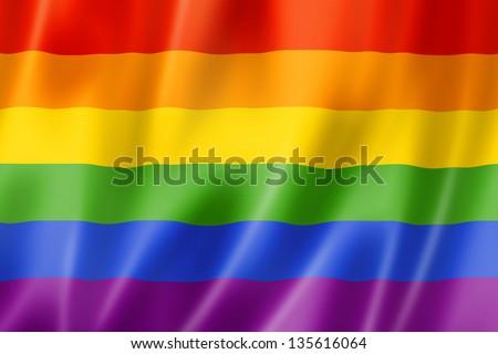 Rainbow gay pride flag, three dimensional render, satin texture - stock photo