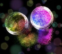 rainbow glitter pots