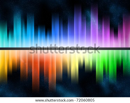 Rainbow gradient equalizer in starfield