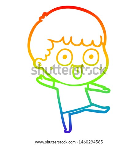 rainbow gradient line drawing of a cartoon dumb kid