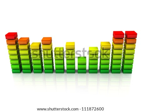 Rainbow graphic equalizer or spectrum analyzer isolated on white background with reflection effect