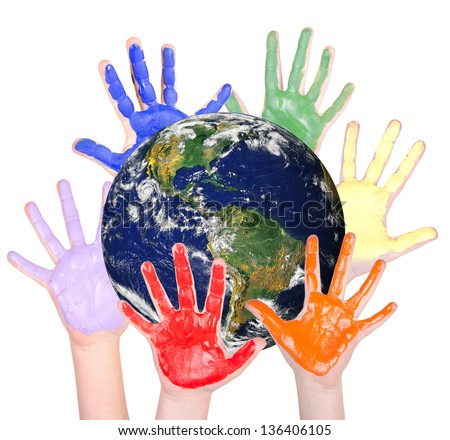 Rainbow hands around the globe, isolated on white: Parts of this image furnished by NASA