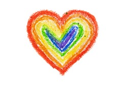 Rainbow heart drawn with crayons on a white background by a child. The concept of freedom and respect for human rights