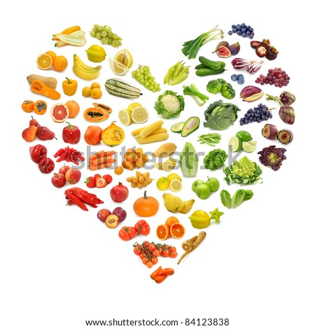 Rainbow heart of fruits and vegetables #84123838