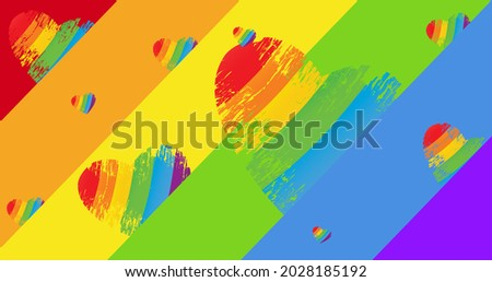 Rainbow hearts over rainbow stripes background. lgbtq pride and equality celebration concept digitally generated