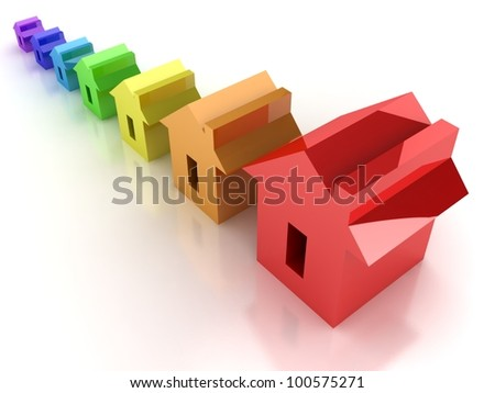 Rainbow house - stock photo