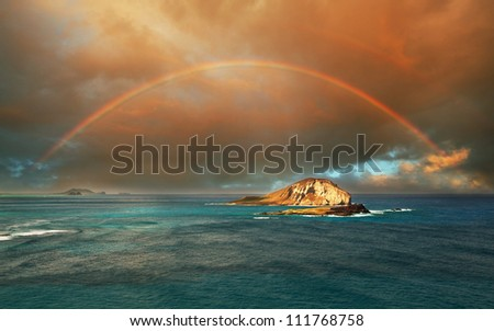 rainbow in Hawaii island