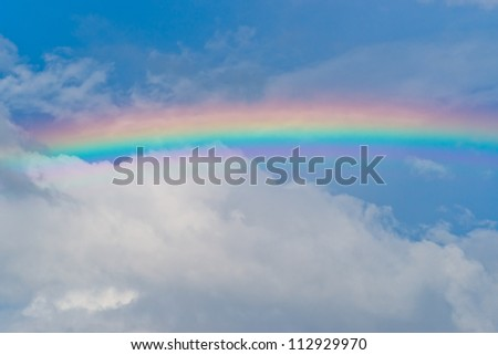 Rainbow in the cloudy sky after the rain