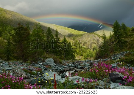 Rainbow in the mountainous region