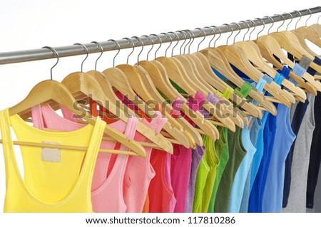 rainbow many peignoir hanging on hangers