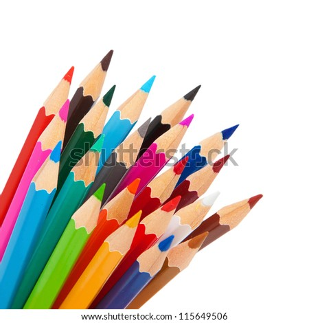 Rainbow many pencils  as a bunch or bouquet isolated on  white background