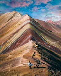 Rainbow mountain man alone meditation