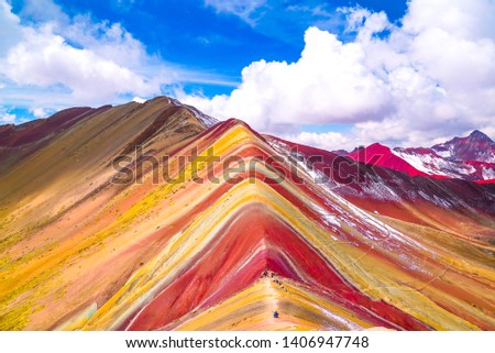 Rainbow Mountain, Peru. Rainbow Mountain is a mountain in Peru with an altitude of 5200 meters above sea level. The colorful mountain is a popular tourist destination.