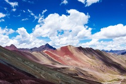Rainbow mountains of Peru. Near the city of Cuzco. Peruvian Andes. Ausangate Mountain. Tourist place worth visiting