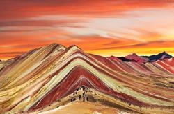 Rainbow mountains or Vinicunca Montana de Siete Colores, Cuzco region in Peru, Peruvian Andes, evening colored view