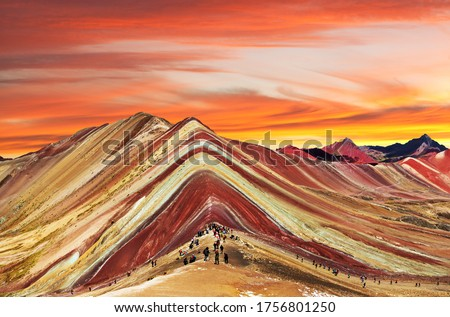 Rainbow mountains or Vinicunca Montana de Siete Colores, Cuzco region in Peru, Peruvian Andes, evening colored view Foto stock ©