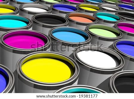 Rainbow of paints