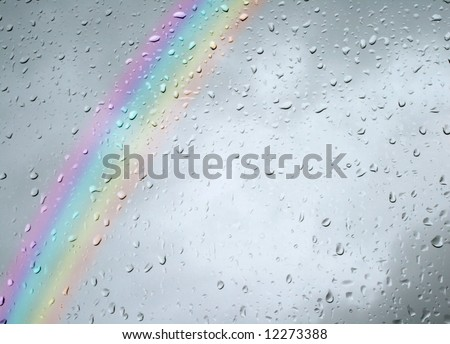 rainy day wallpaper. stock photo : Rainbow on a rainy day