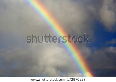 Rainbow on cloudy sky