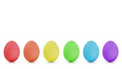 rainbow order easter eggs in a row, isolated on white background