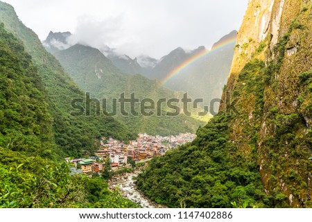 Photo of  Rainbow over Aguas Calientes also known Machu Picchu Pueblo