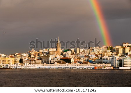 Rainbow over Galata tower in Istanbul, Turkey