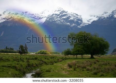 Rainbow over Glenorchy - New Zealand