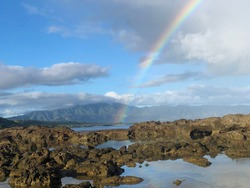 Rainbow over Shark's Cove Tidepools in Hawaii