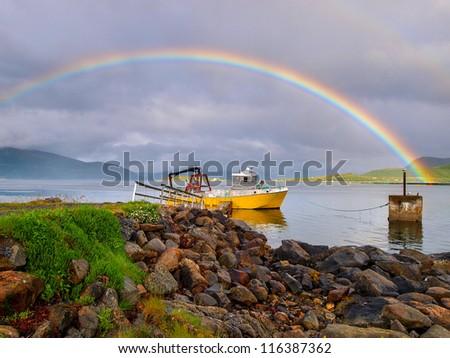 rainbow over ship - norway