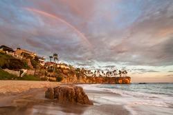 Rainbow over Southern Californian Beach.